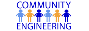 "Logo of people holding hands that reads ""Community Engineering"""